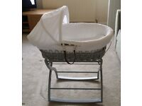 Rocking Wicker Moses Bassinet in excellent condition with all the extras shown