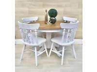 Farmhouse Round Dining Kitchen Table + 4 Chairs