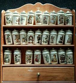 Hummel spice jars and rack