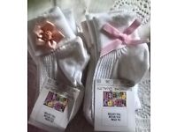 Girls Frilly and Bowed Trimmed Ankle socks 3 Pack