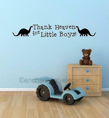 - Thank Heaven For Little Boys Dinosaur Vinyl Decal Wall Sticker Words Nursery