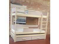 Bunk Bed QUATRO, Wooden Solid Frame, Three Kids Sleeper, High Bed, Children Bedroom Furniture