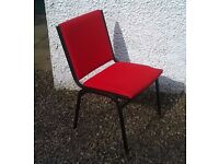 Set of 6 Red and Black Stacking Office Chairs