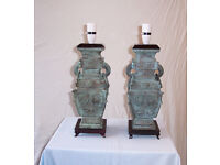 A pair of Chinese Style Antique Bronze Table Lamp Bases