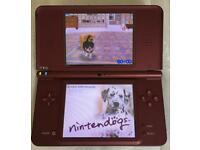 NINTENDO DSI XL BURGUNDY RED & NINTENDO DOGS
