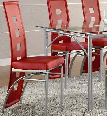 Los Feliz Red Vinyl and Metal Dining Side Chair by Coaster 101683- Set of 2