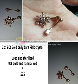 2 x 9CT Gold belly bars with pink crystals