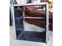 Large Rack Mounting Rack Shelving Unit for music gear with two rack drawers and rack shelf.