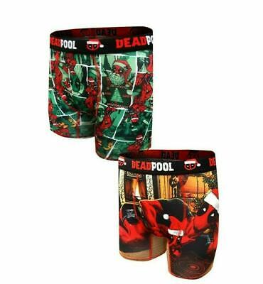 Mens 2-pack Holiday Christmas Deadpool Boxer Briefs Small