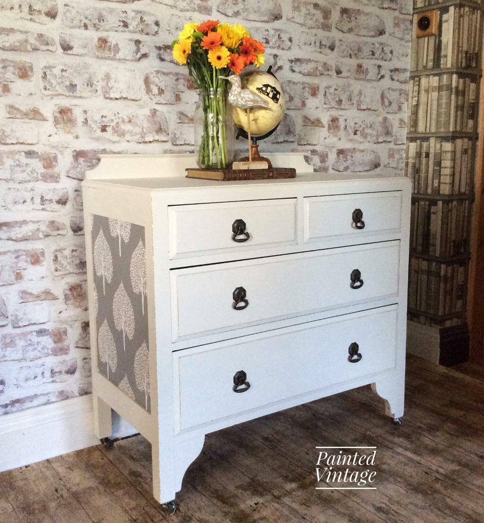 Vintage 1950s Solid Wood Chest Of Drawers/bedroom