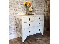 Vintage 1930s solid wood chest of drawers/bedroom furniture Hand painted