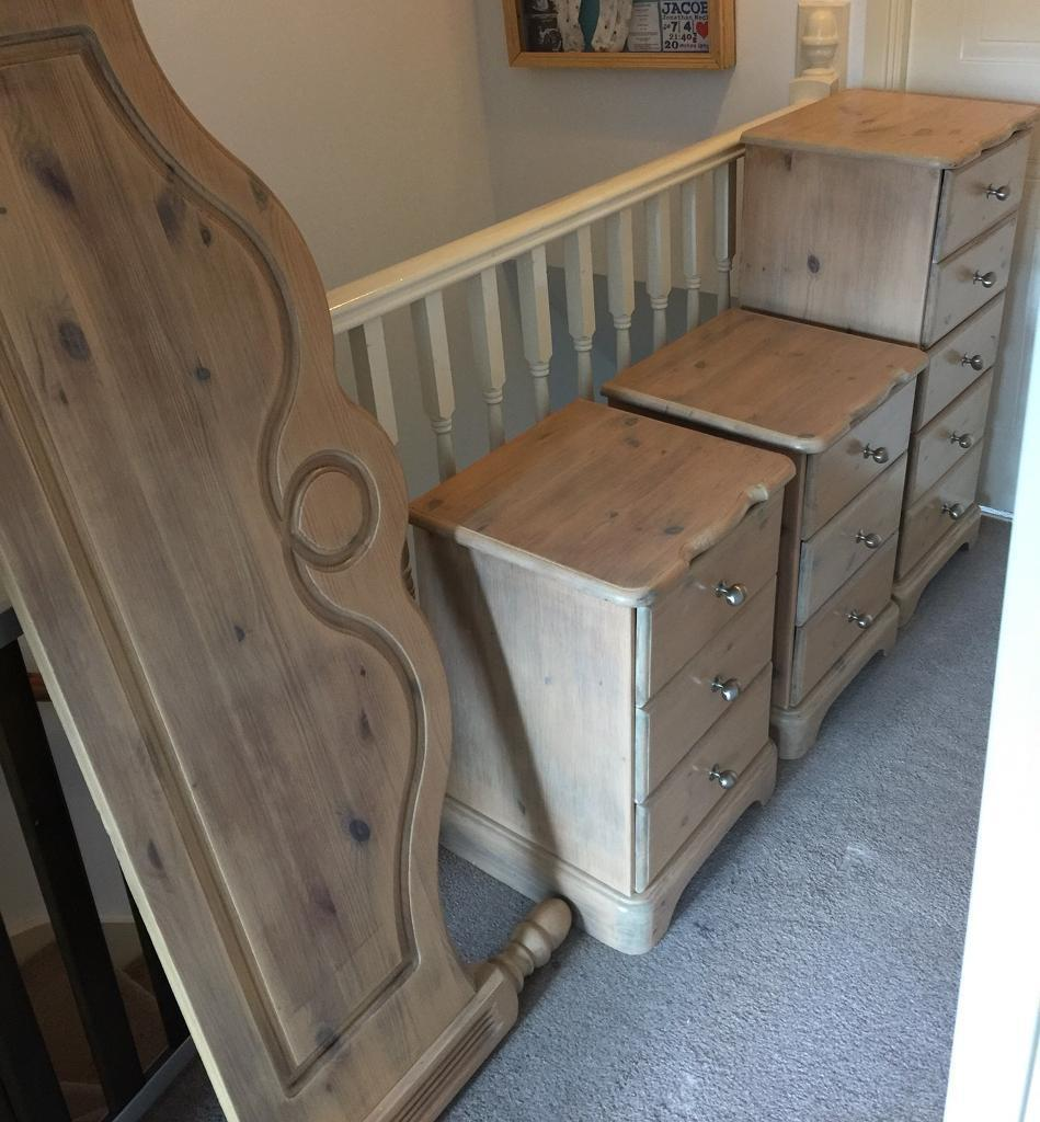 Solid pine white washed bedroom furniture