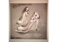 BRAND NEW - Hand Painted Glitter CANVAS WALL ART - Pink Shoes Picture Print & Home Decor 40x40cm