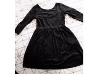 Brand New with tags Forever 21 black lace 3/4 sleeve skater dress, size M