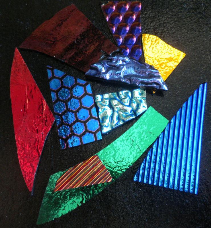 CBS Dichroic Glass Scrap: 8 Oz.Jewelers Pack. 90COE on Black