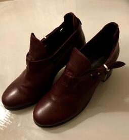 Topshop Burgundy Leather Ankle Shoe Boots