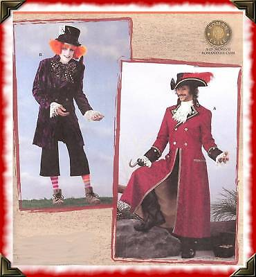 PATTERN Captain Hook MAD Hatter Costume Simplicity 2333 Mens Pirate Hat Jacket
