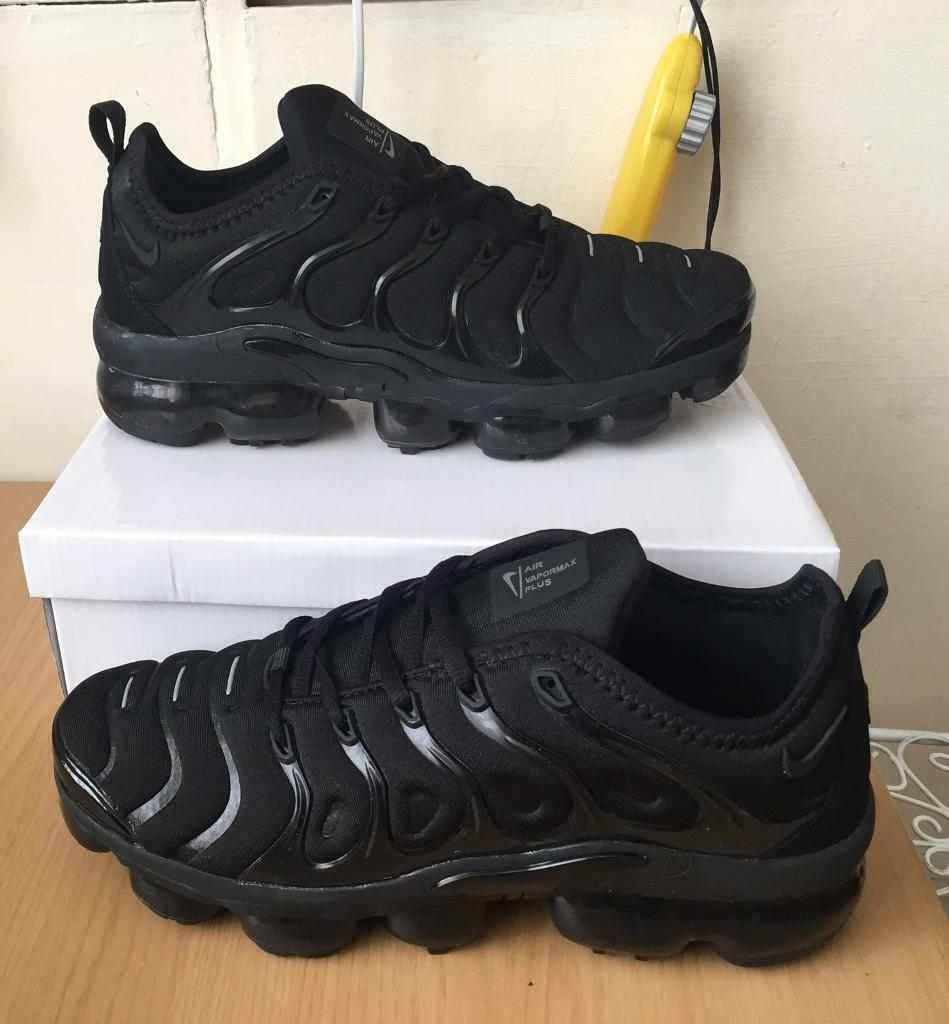 8ad4ae248 BRAND NEW NIKE AIR VAPORMAX PLUS ALL BLACK ANY SIZE NIKE MANS KIDS TRAINERS  VMS PLUS + 110S TNS gg