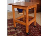 Hand-Crafted Oak Table/Stool On Wheels