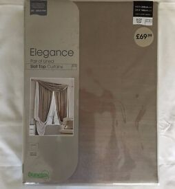 Elegance Lined NATURAL Colour - Slot Top Curtains Various Sizes - From £15