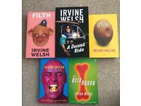 5 x Irvine Welsh books. 3 books unread.
