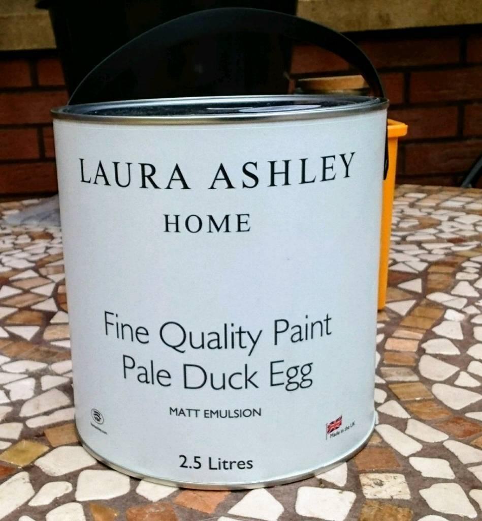 Laura Ashley 2.5 litre tin of Pale Blue Duck Egg matt emulsion paint