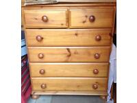 Pine dovetail chest of drawers