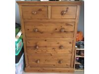 2 Wooden Chest of Drawers - one large, one small