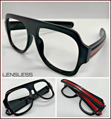 Übergröße Retro Stil Groß Dick Schwarz Glasloses Brillen Rahmen nur ohne Linse