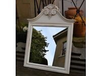 Laura Ashley Ivory painted Wall Mirror - 'Lille' range. Used but VGC