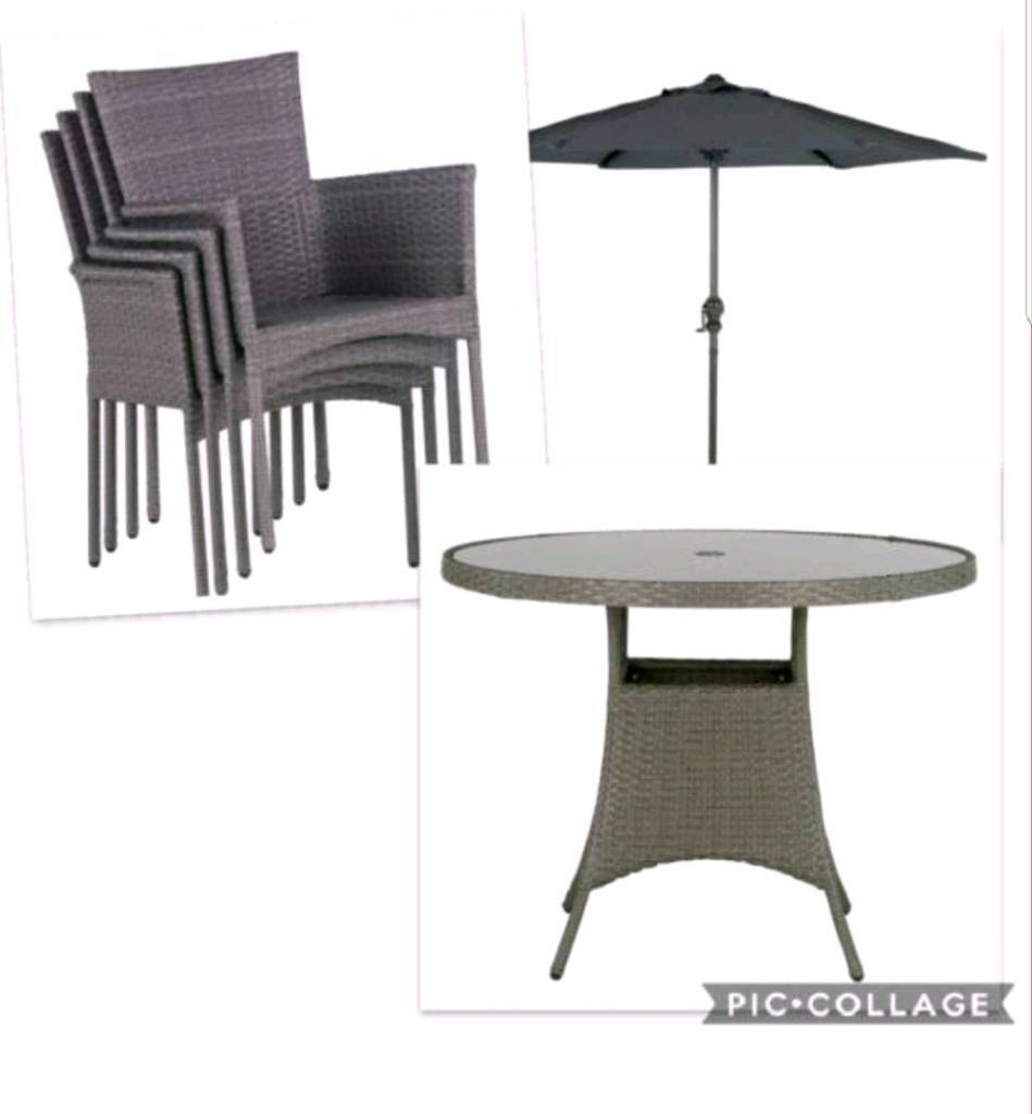 New garden patio table 4 chairs parasol seat cushions belfast £400 00
