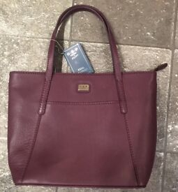 Osprey London Leather Grab Handbag. Aubergine colour. Brand New. Leather, butterfly lining.