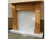 Fireplace mantle and marble hearth