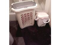 plastic laundry bin, toilet bin and black & silver bath mat