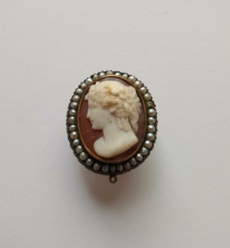 Antique Estate Cameo with Seed Pearls Oval Lady