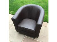 Tub chair Brown Leather M&S really good condition