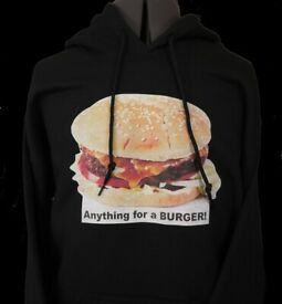 Cool gift Burger Unisex Hoodie Black Small, Medium and Large
