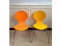 2 Retro Vintage Mid Century Arne Jacobsen Style Plywood Dining Kitchen Stack Chairs Orange Yellow