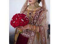 Asian Maroon/ Gold bespoke bridal dress