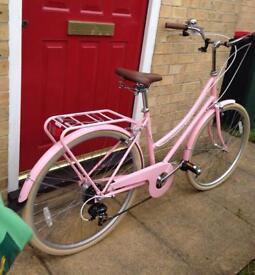 Baby pink women's bobbin bike. Vintage bike
