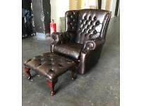 Brown leather Chesterfield chair / stool Can deliver