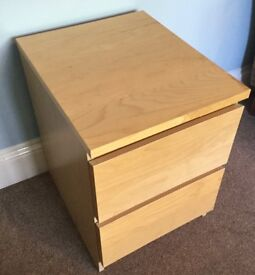 One IKEA Beech 2 Drawer Bedside Chest of Drawers H21.5in/55cmW16in/41cmD19in/48cm