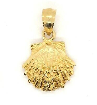 14k Yellow Gold Solid Scallop Sea Shell Charm Pendant 1.6 grams 14k Scallop Shell Charm