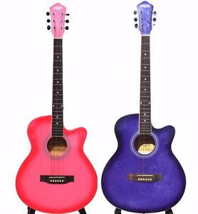 Acoustic Guitar Pink & Purple 40 inch for beginners Free 5 picks iMusicGuitar