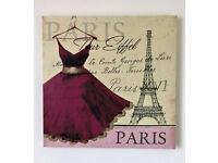 BRAND NEW - Eiffel Tower PARIS CANVAS WALL ART - Vintage Dress Picture Print & Home Decor 40x40cm