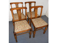 4 Vintage Hardwood Kitchen or Dining Chairs to Re-Cover