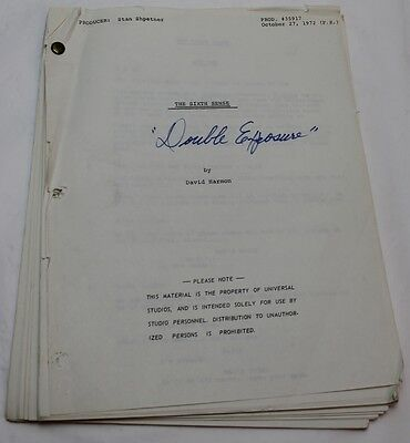 The Sixth Sense * 1972 TV Show Script * Paranormal, Mystery Thriller