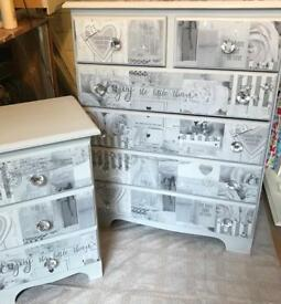 SHABBY CHIC CHEST OF SOLID PINE DRAWERS AND MATCHING BEDSIDE DRAWERS