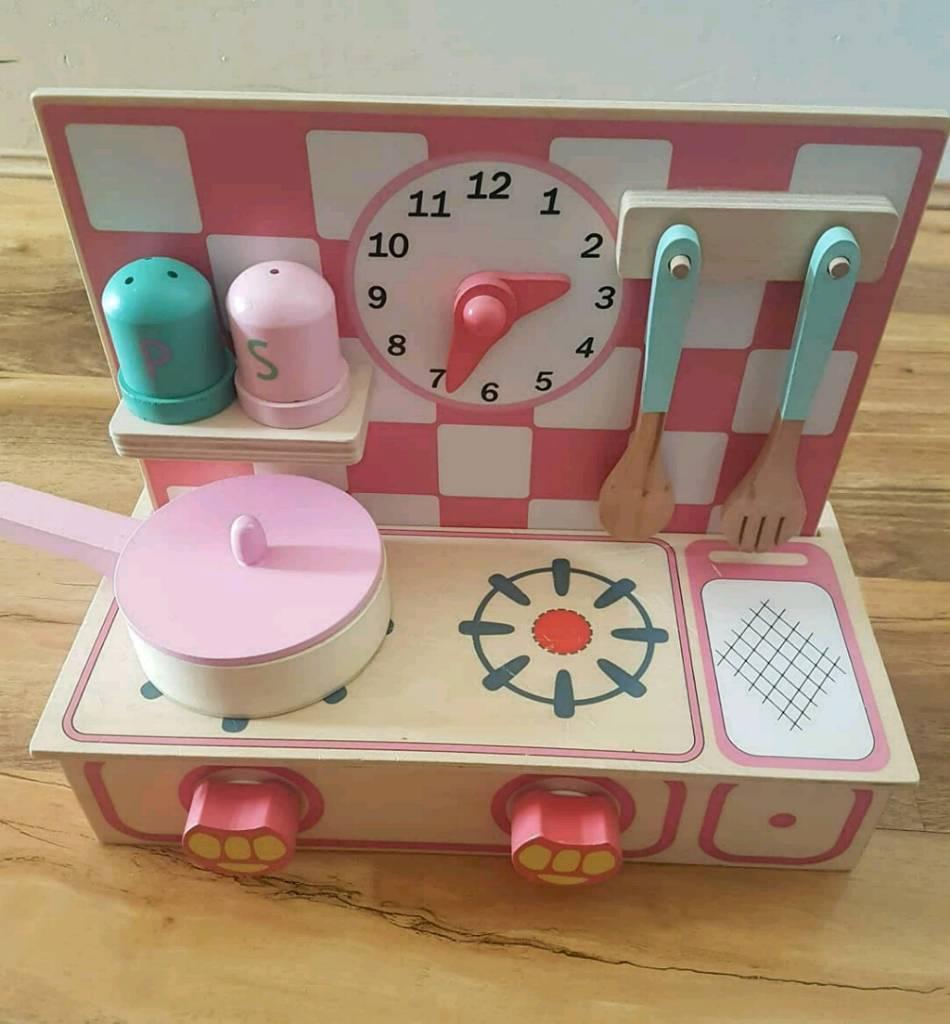 Com Teamson Kids Modern Wooden Play Kitchen Set With