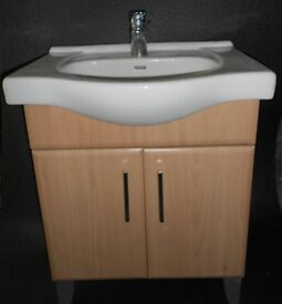 Bathroom wood-effect Vanity Unit with White Sink but NO tap. Used but VGC.